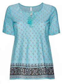 Sheego AQUA Pure Cotton Tie Neck Border Print Top - Plus Size 18 to 32 (EU 44 to 58)