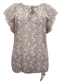 Blancheporte TAUPE Leaf Print Flounce Sleeve Tie Hem Blouson Top - Size 10 to 28 (EU 36 to 54)