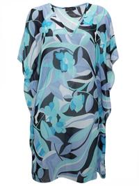 Ecoline BLUE V-Neck Printed Kaftan Dress - Size 12 to 18 (Small to XLarge)