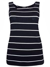 Zuri BLACK Striped Jersey Vest Top - Size 10 to 16