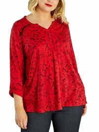 Kiabi RED Flora Print Cotton Rich Henley Tee Top - Plus Size 18/20 to 30/32