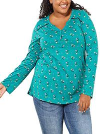 Kiabi BlueGreen Floral Print Cotton Rich Henley Tee Top - Plus Size 18/20 to 30/32