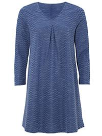 Cellbes DENIM-BLUE Chevron Print Pleat Front Tunic Top - Size 8/10 to 20/22 (EU 34/36 to 46/48)