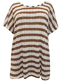Ivans BROWN Metallic Striped Fine Knit Top - Plus Size 30/32