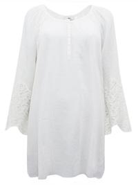 Ellos OFF-WHITE Pure Cotton Lace Cuff Tunic - Size 10 to 18 (EU 36 to 44)