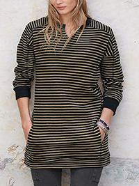 BLACK Striped Longline Pure Cotton Tunic Top - Size 6 to 22