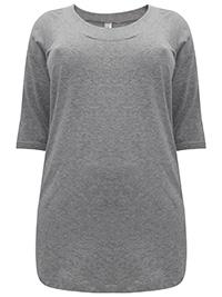 Curve GREY Cotton Elastane Seamed Scoop Neck Top - Plus Size 16 to 30/32