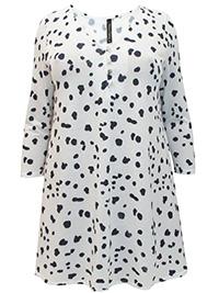 Yours Curvy WHITE Dalmatian Print Button Detail Swing Tunic - Plus Size 14 to 30/32