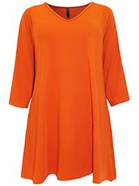 Yours Curvy (Ivans) BURNT-ORANGE V-Neck 3/4 Sleeve Tunic Top - Plus Size 16 to 30/32