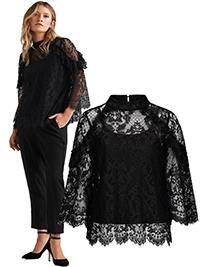 Ellos BLACK Gemma Ruffle Trim High Neck Lace Blouse - Plus Size 12 to 20 (EU to 38 to 46)