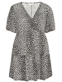 Curve BLACK Animal Print Wrap Smock Jersey Top - Plus Size 16 to 38/40
