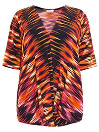 3VANS MULTI Printed Mock Wrap Half Sleeve Top - Plus Size 16 to 30/32