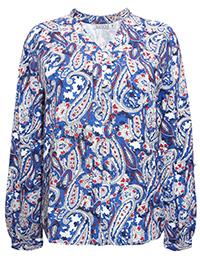Quiosque BLUE Paisley Print Shirt - Size 10 to 20 (EU 36 to 46)