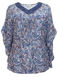 Janina NAVY Paisley Print Kaftan Sleeve Top - Plus Size 18 to 32 (EU 44 to 58)