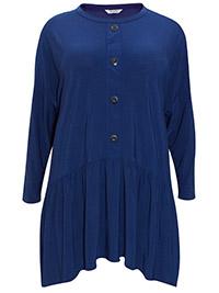 3VANS BLUE Soft Crepe Viscose Shirred Drop Sides Tunic - Plus Size 16 to 30/32