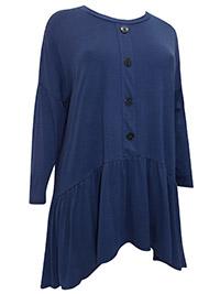 3VANS INK-BLUE Bi-Stretch Ponte Jersey Shirred Drop Sides Tunic - Plus Size 16 to 30/32