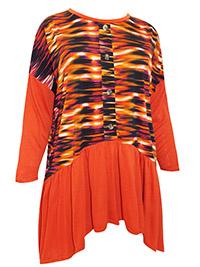 3VANS ORANGE Paradise Graphic Print Shirred Drop Sides Tunic - Plus Size 16 to 30/32