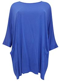 3VANS BLUE Alabaster Loose Fit Drop Sleeve Pocket Tunic Top - Plus Size 16 to 30/32