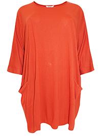 3VANS BURNT-ORANGE Loose Fit Drop Sleeve Pocket Tunic Top - Plus Size 16 to 30/32