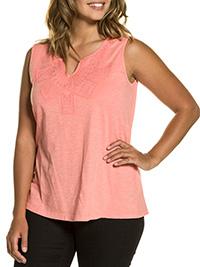 Ulla Popk3n LIGHT-ORANGE Sleeveless Notch Neck Cotton Knit Vest Top - Plus Size 16/18 to 36/38
