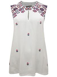 Viva CREAM Sleeveless Embroidered Jersey Top - Size 12 to 18 (EU 38 to 44)