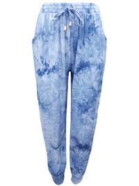 Amparo BLUE Tie Dye Pull On Harem Trousers - FreeSize Fits 12-14-16