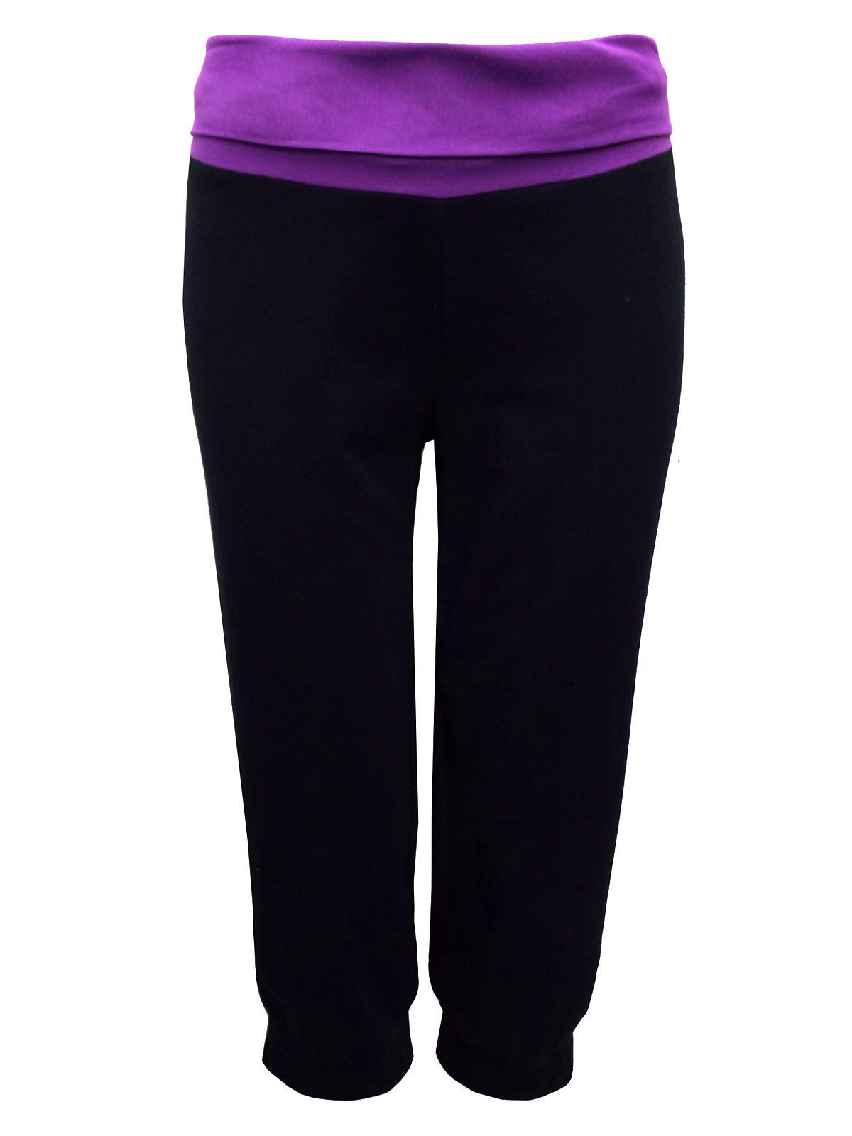 Decathlon Decathlon Black Cotton Rich Contrast Waist Cropped Yoga Bottoms Size 6 To 26