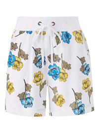 Capsule WHITE Floral Print Linen Blend Slouch Shorts - Plus Size 30