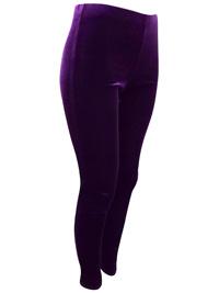 PURPLE Full Length Velour Leggings - Size 12 to 14