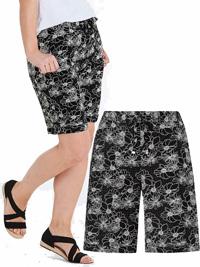 Capsule BLACK Linen Blend Floral Print Shorts - Plus Size 12 to 32