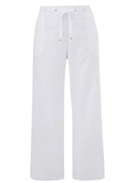 Julipa WHITE Linen Blend Drawstring Trousers - Plus Size 12 to 24