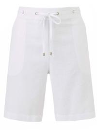 Julipa WHITE Linen Blend Drawstring Shorts - Plus Size 14 to 30