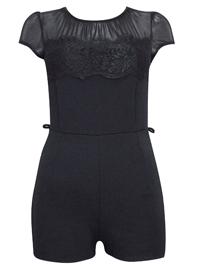 M1ss S3lfridge BLACK Short Sleeve Lace Panel Playsuit - Size 10 to 12