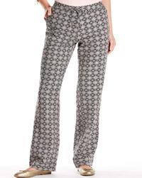 Anthology BLACK Baroque Print Linen Blend Trousers - Plus Size 12 to 22
