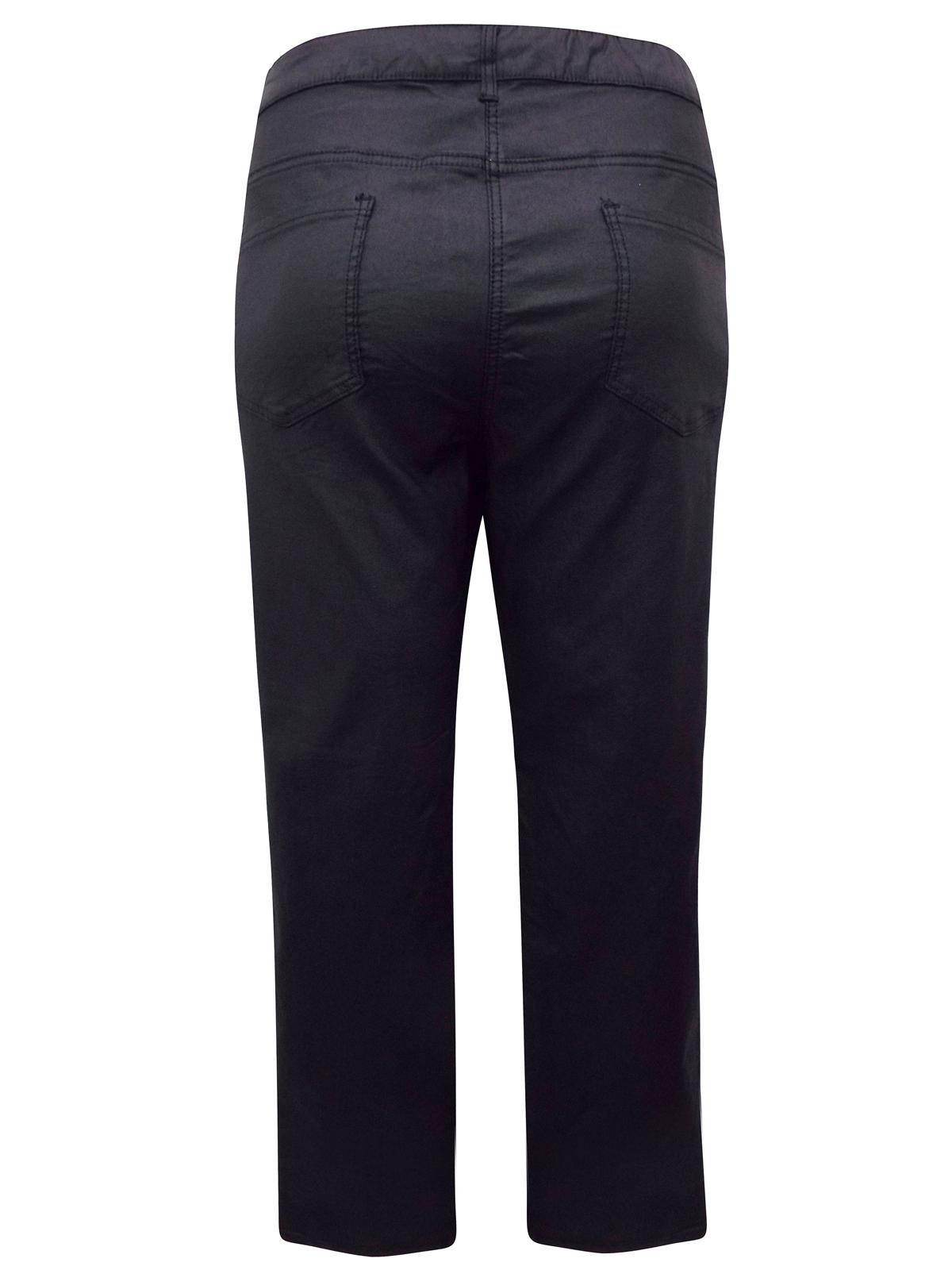 9608c26f9f88e Emoi En Plus - - BLACK Straight Leg Coated Trousers - Size 22 to 30 (EU 50  to 58)