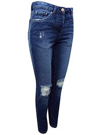 N3xt DENIM BLUE Boyfit Ripped Knees Jeans - Size 6 to 20 (Leg R/29in-L/31in.-XL/33in.)