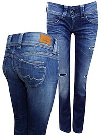 Pepe Jeans DENIM Venus Low Rise Regular Fit Straight Leg Denim Jeans - Waist Size 27 to 31 (Length 32in)