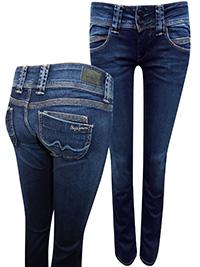 Pepe Jeans DARK-DENIM Venus Low Rise Regular Fit Straight Leg Denim Jeans - Waist Size 27 to 31 (Lengths 32in-34in)
