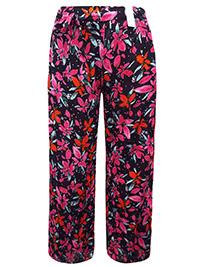 3vans Curve BLACK Floral Print Trousers - Plus Size 14 to 32