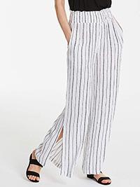 Anthology IVORY BLACK Printed Shirred Waist Wide Leg Trousers - Plus Size 10 to 26