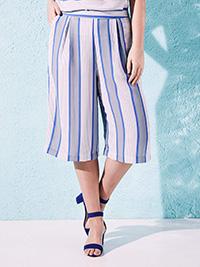 LabelBe BLUE Striped Culottes - Size 10 to 32