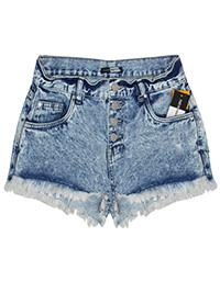 Tuttu Frutti BLEACHED-DENIM Frayed Hem Denim Shorts - Size 8 to 18 (EU 34 to 44)