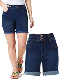 SimplyBe INDIGO Premium Shape & Sculpt Denim Shorts - Plus Size 32