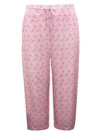Marisota BLUSH Paisley Print Drawstring Waist Cropped Trousers - Plus Size 20 to 22