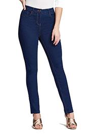 SimplyBe INDIGO Lexi Super Soft High Waist Slim Leg Jeans - Plus Size 30