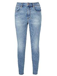 SimplyBe LIGHT-BLUE-ACID Chloe Skinny Jeans Long Length - Plus Size 28 to 32