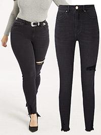 SimplyBe WASHED-BLACK Luna Comfort Stretch Slim Fit Jeans Regular Length - Plus Size 30