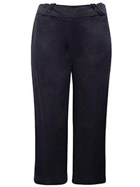 3VANS BLACK Linen Blend Regular Wide Leg Trousers - Plus Size 14 to 32