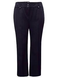 3VANS BLACK Straight Leg Triple Button Trousers - Plus Size 14 to 32