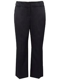 3VANS BLACK Straight Leg Button Detail Trousers - Plus Size 14 to 32